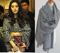 Woman knit scarf winter  plaid scarf big shawls fringe scarf  200*95cm  H-374
