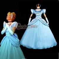 Free Shipping Custom-made Movie Cosplay Costume Blue Princess Cinderella Dress