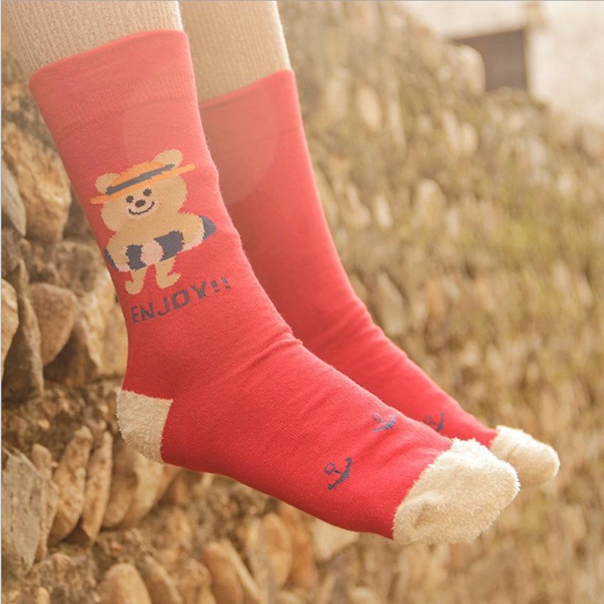 Women's socks cotton high quality cartoon cotton head with warm half of cashmere socks wholesale 12 pairs/lot w 0580(China (Mainland))