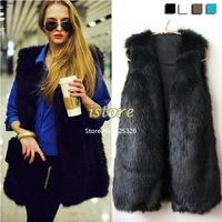2014 New Arrival Hot Sale New Chic Lady Faux Fur Vest Warm Coat Outwear Long Hair Jacket Winter Waistcoat 18820