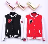 sport suit women cardigans printed sweatshirt and autumn student women's baseball uniform lovers sweatshirt outerwear letter p