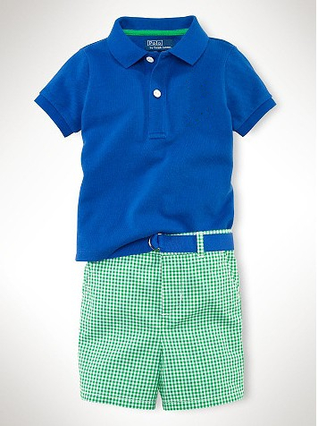 Summer Sport Style Shirt and Checked Short Pants Baby Suit(China (Mainland))