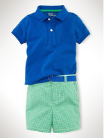 Summer Sport Style Shirt and Checked Short Pants Baby Suit