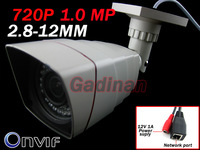 Network Outdoor & Indoor 720P HD 1.0 Megapixels 36 IR LEDs 2.8-12MM P2P Plug N Play Onvif Day/Night   IP Bullet Camera