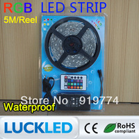 rgb 5050 Waterproof smd led strip set 30led/m 5M soft christmas  DC 12V+ IR Remote Control  switch+ Power Supply free shipping