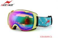 Free shipping Unisex ski goggles multip-color frame/dual lens snowboarding masks uv-protection anti-fog Winter snow ski goggles