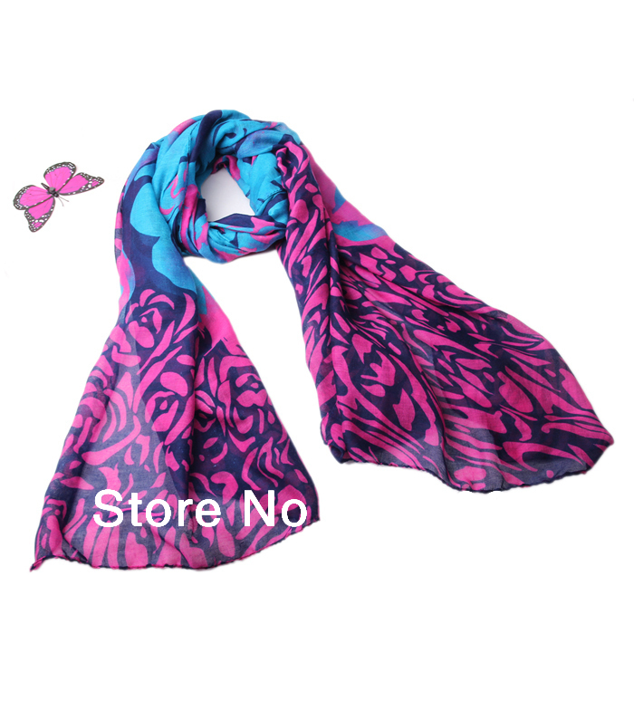 New designer Fashion Women Scarves Long Voile hijab muslim scarf tribal aztec Shawl plated rose 6 color scarves for Christmas(China (Mainland))
