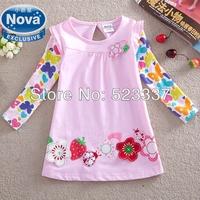 Retail children t shirt 2015 nova kids clothing beautiful flowers embroidery spring /autumn  long sleeve T-shirt for girls F2275