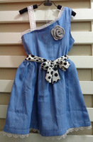 Free shipping 2014 new summer children's clothing girls casual flower princess dresses kids cotton thin denim sleeveless dress