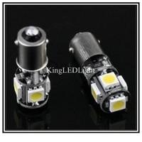 DHL/EMS Free! 500pcs Car Auto LED BA9S 6523 1895 H6W T4W 5 led smd 5050 CANBUS OBC ERROR FREE LED Light Bulb Lamp 5SMD White