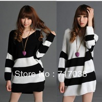 Free shipping Korean manufacturers supply loose big yards sweater striped sweater bat sleeve sweater autumn sweater