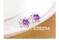 HOT, 925 sterling silver stud earrings female Korean fashion cute flower earrings silver trinkets(ED015),Free shipping