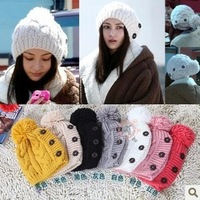 HAT008 Free Shipping 2013 Hot fashion women Button Twisted Knitted cap winter beanie hats women's warm knitting hat