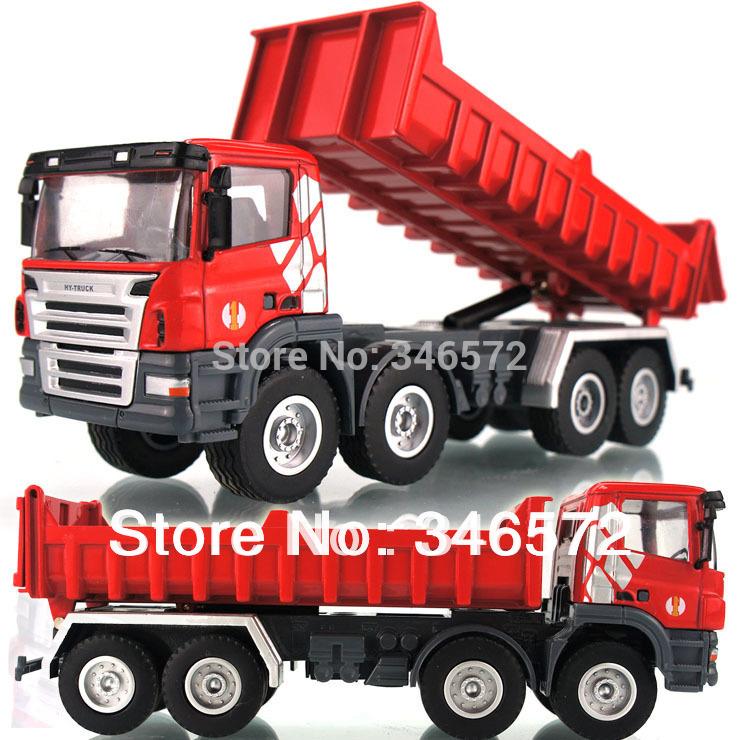 Free shipping Huayi 8 alloy large full round dump truck dump-car big truck engineering car toy educational toys Wholesale(China (Mainland))