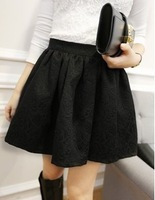 2013 New Sexy Mini Skirt For Female Autumn Winter  Fashion Jacquard Embossed Design High Waist Puff Skirts Black White