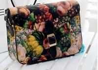 free shipping 2014 fashion spring women's messenger bag ladies small flower oil painting black bag vintage handbag