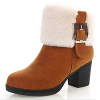 2013 winter genuine leather thick Nubuck heel sweet boots rabbit fur high-heeled round toe shoes women's wool shoes with crystal