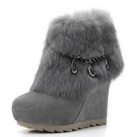 [(My God)] 2014 new women winter Cowhide rabbit fur ankle-length wedges platform 11cm high heel fur genuine leather boots