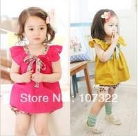 Ruffle sleeveless bow shivering cute long design baby t-shirts  612558