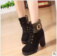 Hot Fashion women motorcycle boots Keep Warm Winter Boots Solid Shoes Woman New Sexy Style
