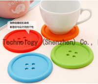 10PCS/LOT Creative Household Supplies Round Silicone Coasters Cute Button Coasters Cup Mat