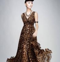 2014 new women dress high waist chiffon bohemia leopard dresses sleeveless V-Neck sexy thin beach dress v247 free shipping