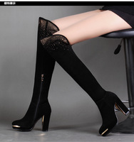 High Quality!Free Shipping Winter Women's Shoes Leather Over-Knee Long Boots,Thick High Heel Solid Black Blue Coffee,Big Size