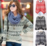 New fashion 2013 Winter Casual Loose O neck Long Sleeve Pullovers Sweater Thickening Knitted Outerwear for Women Free shipping