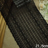 Wholesale 1kg 21.5cm Black Water Soluble Embroidery Lace Fabric Trim Wedding Dress Guipure Applique Sewing Accessories AC0015