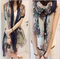 Hot selling retro style  flowers navy edge winter infinity scarf for women,female lovely brand designer brand scarf,HCA-SK047