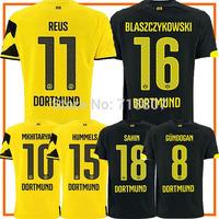 THAILAND Gundogan BVB Dortmund Jerseys 14/15 Yellow REUS Shirts LEWANDOWSKI Dortmund Home 2015 Soccer Jersey M.Gotze Kit