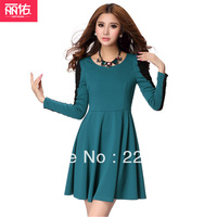 free ship Plus size lace patchwork long-sleeve basic skirt slim one-piece dress quality lady's dress  xl xxl xxxl xxxxl