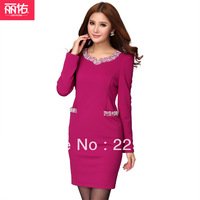 free ship 2014  plus size quality lady winter dresses for fat women elegant one-piece dress  plus size clothing distribution