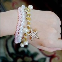Sheegior 2014 New Fashion Hot Sale Multilayer Jade White Pearl Music women charm bracelets Free shipping