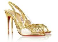 Jeweled Wedding shoe Au Hameau strass pvc sandals transparent black silver gold high heels Peep toe red bottom 100mm