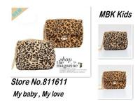 Retail 1pcs Girls Leopard Handbag Kids Fleece Fashion Tiger Purse Lady Mini Bags Metal Sling Bags for Boutique Free Shipping