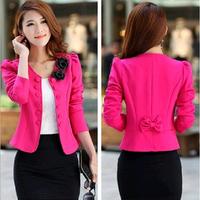 Free shipping 2014 New Fashion Women Lady Tops Slim Suit OL Blazer Short Coat Jacket M-XXL
