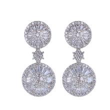 New 2014 earrings High Quality Latest Jewelry AAA Cubic Zirconia Leaf Shape Crystal Earrings Statement Jewelry