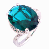 Wholesale Wonderful  Oval Cut Green & White Topaz Silver Ring Size 7 8 9  10 Jewelry Fashion Green Stone Ring