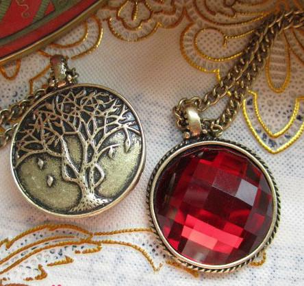 6pcs lot Wholesale Vintage Style Red Gem back of theTree Pendant Necklace unisex jewlery