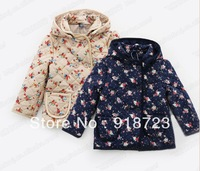 2014 new autumn and winter children clothing girls hooded coat long fahsion christmas flowers thick hooded high quality 2-8T