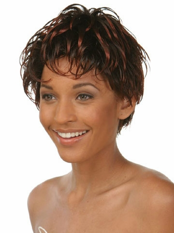 American Synthetic wigs Free shipping Short hair Wavy Brown Pixie cut