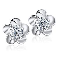 2013new 925 sterling silver stud earrings female Korean fashion cute flower earrings silver trinkets Genuine free shipping