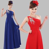 Hot Selling Elegant Bridesmaid One Shoulder Long Chiffon Wedding Party Dresses 2 Colors 11CLF59