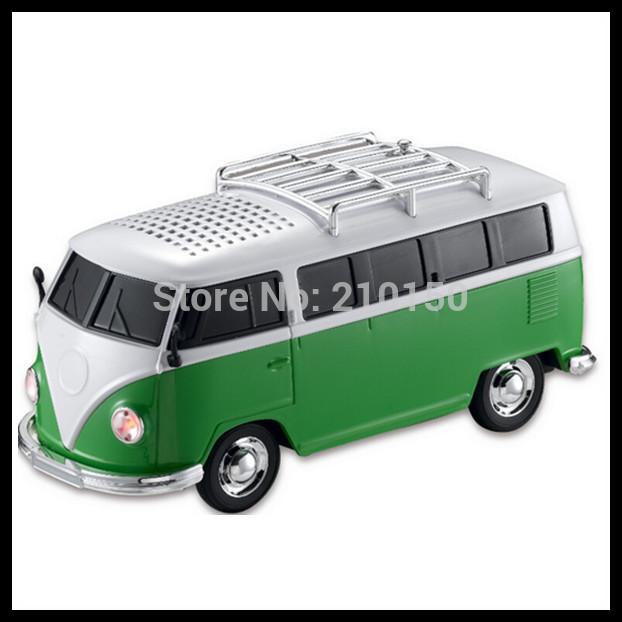 40pcs Wholesale USB Mini Speaker Car/Bus Shape TF Micro Music Player FM Radio Portable ws-266 Speaker(China (Mainland))
