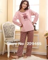 2014 new fashion cartoon bear long sleeved cotton bear pajamas Home Furnishing suit Ms. sleep wear women tracksuit set home wear