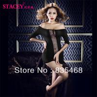 Free Shipping Female Sexy Exposed Breast Babydolls Tight Mini Dress Lady Club Wear Midnight Seductive Lingerie Set Black