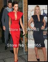 Free Shipping Autumn -Summer Hot Sales New Fashion V-Neck Short Sleeve Knee-Length Pocket Party Elebrity Pencil Dresses