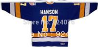 #17 Steve Hanson Brothers Charlestown Hockey Jersey Blue Slapshot Movie - Costom Any Number, Any Name Sewn On