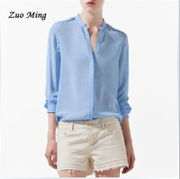 New Arrival fashion comfortable women's clothing, rivet decoration small stand collar female long-sleeve shirt Size: S - L